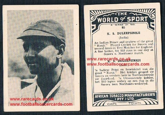 1930's South African Tobacco World of Sport cricket card Kumar Shri Duleepsinhji Sussex CCC